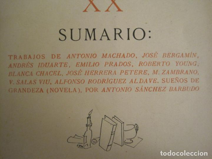 Coleccionismo Papel Varios: GUERRA CIVIL-HORA DE ESPAÑA-AGOSTO 1938-REVISTA XX-ANTONIO MACHADO, ZAMBRANO...-VER FOTOS-(V-19.550) - Foto 3 - 201325257