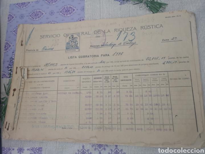 LISTA COBRATORIA 1935 SANTIAGO DE CARBAJO CÁCERES. (Coleccionismo en Papel - Varios)