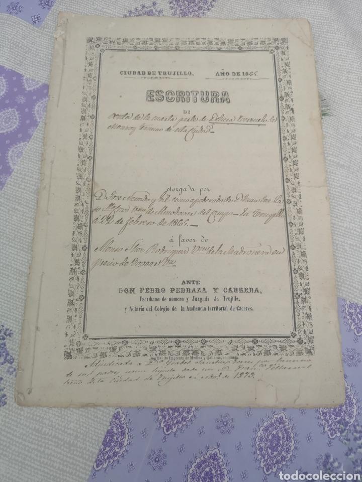 ESCRITURA ANTIGUA DE TRUJILLO CÁCERES MANUSCRITOS 1865 (Coleccionismo en Papel - Varios)