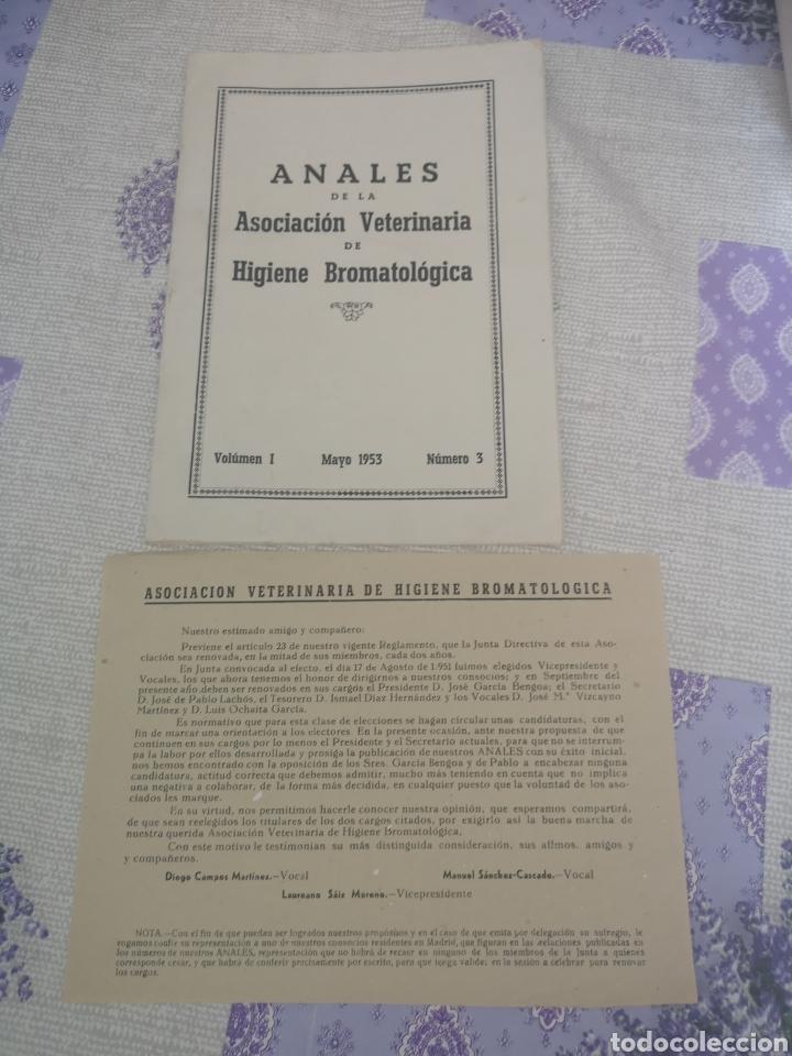 ANALES DE LA ASOCIACIÓN VETERINARIA DE HIGIENE BROMATOLOGICA 1953. (Coleccionismo en Papel - Varios)
