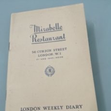 Coleccionismo Papel Varios: MIRABELLE RESTAURANT. 56 CURZON STREET. LONDON W1. LONDON WEEKLY DIARY OF SOCIAL EVENTS.23-29-1-1983. Lote 202073691