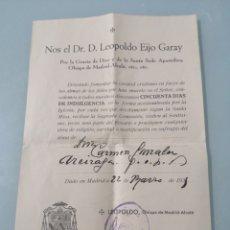 Coleccionismo Papel Varios: INDULGENCIA DE 50 DÍAS. DR. D. LEOPOLDO EIJO GARAY. OBISPO DE MADRID-ALCALÁ. 22 DE MARZO DE1931.. Lote 202077495