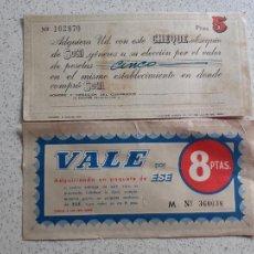 Altri oggetti di carta: LOTE DE 2 VALES DE COMPRA. AÑOS 60. SUTIL. ESE. Lote 202744247