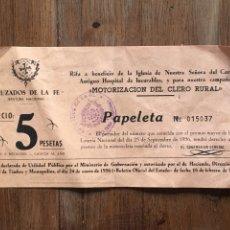 Outros artigos de papel: PAPELETA LOTERÍA RIFA CRUZADOS DE LA FE MOTORIZACIÓN CLERO RURAL MOTO NSU MOD 1956. Lote 202875585