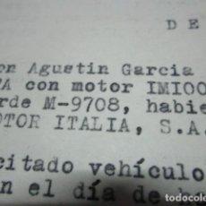 Coleccionismo Papel Varios: CONTRATO COCHE ISETTA VERDE M-9708 POR RICARDO PERERA JOYERO MADRID. Lote 203549156