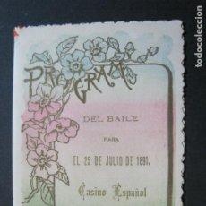 Coleccionismo Papel Varios: CASINO ESPAÑOL-PROGRAMA DE BAILES-AÑO 1891-VER FOTOS-(69.945). Lote 204095627