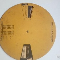Coleccionismo Papel Varios: TABLA DE FRACCIONES Y MULTIPLICAR RULETA CON PUBLICIDAD CASA DEL LIBRO ESPASA CALPE MADRID. Lote 204831958