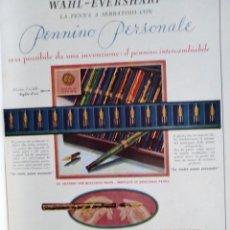 Coleccionismo Papel Varios: PUBLICIDAD ITALIANA GRAN TAMAÑO PLUMAS ESTILOGRAFICA LA PENNA WAHL EVERSHARP 1930 40 26. Lote 205598183
