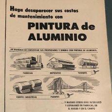 Coleccionismo Papel Varios: PUBLICIDAD DE PRENSA DE METALÚRGICA REYNOLDS. ORIGINAL AÑO 1954. 14 X 35 CM. BUEN ESTADO.. Lote 206287543