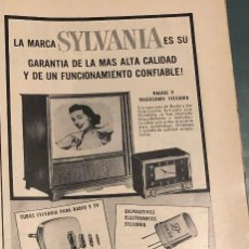 Coleccionismo Papel Varios: PUBLICIDAD DE PRENSA DE APARATOS ELECTRÓNICOS SYLVANIA. ORIGINAL AÑO 1954. 14 X 35 CM. BUEN ESTADO.. Lote 206288111