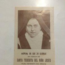 Coleccionismo Papel Varios: NOVENA DE LAS 24 GLORIAS EN HONOR DE STA. TERESITA DEL NIÑO JESÚS. IMP. MARIANA. LERIDA.. Lote 206288861