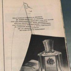 Coleccionismo Papel Varios: PUBLICIDAD DE PRENSA DE LAVANDA YARDLEY. ORIGINAL AÑO 1954. 14 X 35 CM. BUEN ESTADO.. Lote 206289168