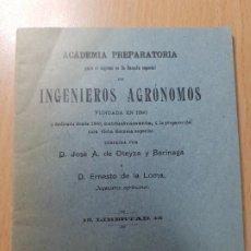 Coleccionismo Papel Varios: ACADEMIA ESCUELA INGENIEROS AGRONOMOS OTEYZA BARINAGA Y DE LA LOMA AGRICULTURA MADRID 1914. Lote 206326533