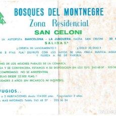 Outros artigos de papel: HOJA PUBLICITARIA BOSQUES DEL MONTNEGRE - ZONA RESIDENCIAL SANT CELONI. Lote 206776056
