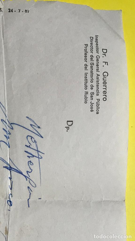 Coleccionismo Papel Varios: Antigua receta prescripcion medica doctor f guerrero 1970 sanatorio san jose instituto Rubio - Foto 3 - 206841825