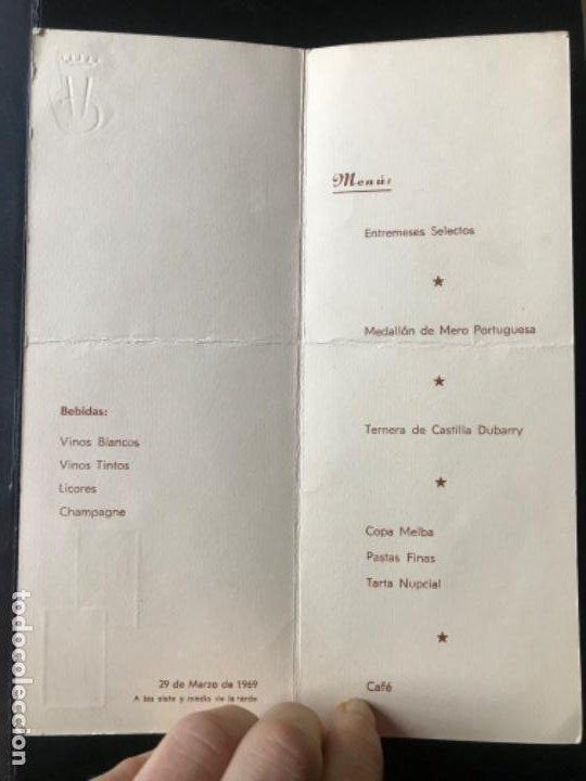 Coleccionismo Papel Varios: menu diptico Hotel carlton Madrid enlace boda 1969 21x8,1 - Foto 4 - 206842781