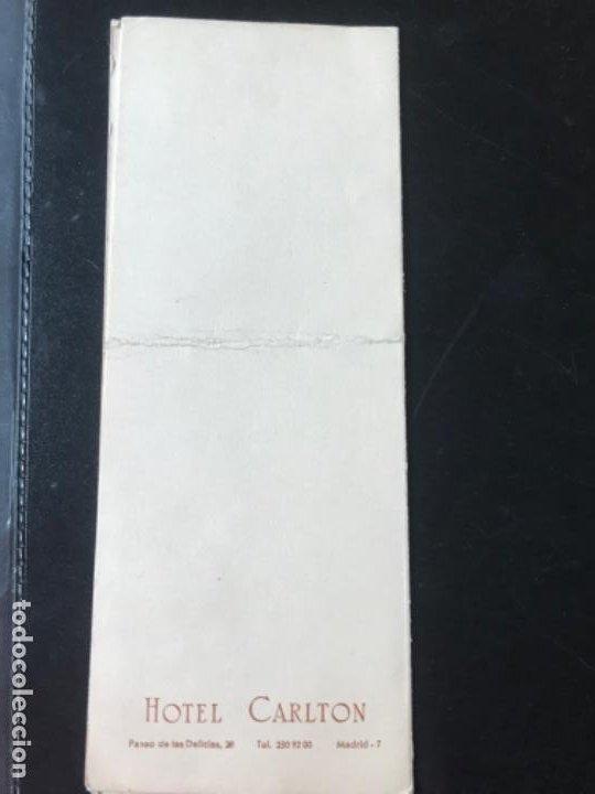 Coleccionismo Papel Varios: menu diptico Hotel carlton Madrid enlace boda 1969 21x8,1 - Foto 5 - 206842781