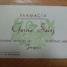 Outros artigos de papel: TARJETA FARMACIA GARCIA SAINZ.. ZARAGOZA.. Lote 206981902
