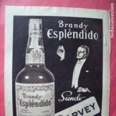 Coleccionismo Papel Varios: GARVEY.-BRANDY ESPLENDIDO.-BEBIDAS.-JEREZ DE LA FRONTERA.-CADIZ.-PUBLICIDAD.. Lote 207140483