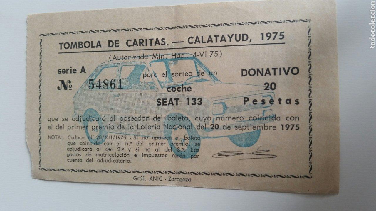 CALATAYUD TÓMBOLA DE CARITAS 1975 SORTEO SEA 133 (Coleccionismo en Papel - Varios)