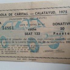 Coleccionismo Papel Varios: CALATAYUD TÓMBOLA DE CARITAS 1975 SORTEO SEA 133. Lote 207821383