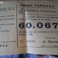 Coleccionismo Papel Varios: PAPELETA SOBRE NUMERO LOTERIA AÑO 1986 - -- NUMERO 60067. Lote 207923383