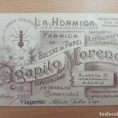 Coleccionismo Papel Varios: ANTIGUA TARJETA COMERCIAL LA HORMIGA AGAPITO MORENO MADRID. Lote 210006693