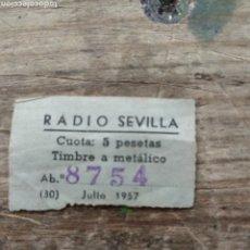 Coleccionismo Papel Varios: TICKET RADIO SEVILLA 1957. Lote 210563542