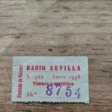 Coleccionismo Papel Varios: TICKET RADIO SEVILLA 1958. Lote 210563646