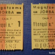 Coleccionismo Papel Varios: MAGATZEMS JORBA BARCELONA. 2 TALONS OBSEQUI 4,50 X 3 EN BON ESTAT. Lote 210613718