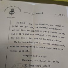 Coleccionismo Papel Varios: CARTA AJUNTAMIENTO DE MANRESA 1935. Lote 210973024