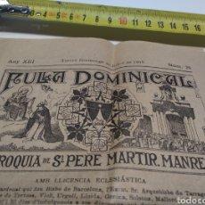 Coleccionismo Papel Varios: AULA DOMINICAL PARROQUIA DE SANT PERE MÁRTIR MANRESA 1919. Lote 210973662