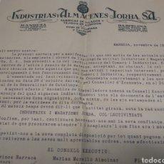 Coleccionismo Papel Varios: CARTA DE LOS ALMACENES JORBA A LOS TRABAJADORES MANRESA 1936. Lote 211456426