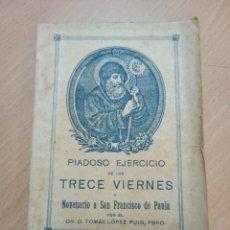 Coleccionismo Papel Varios: PIADOSO EJERCICIO NOVENA SAN FRANCISCO DE PAULA VALENCIA 1916. Lote 212679155