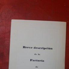 Coleccionismo Papel Varios: BREVE DESCRIPCIÓN DE LA FACTORÍA DE ABONOS SEVILLA S.A,. Lote 213070632