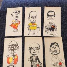 Altri oggetti di carta: 6 CARICATURAS DE ORTUÑO POLÍTICOS AÑOS 80. Lote 214096786