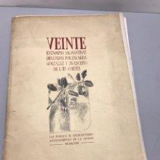 Coleccionismo Papel Varios: VEINTE ESTAMPAS SALMANTINAS DIBUJADAS POR ZACARIAS GONZALEZ Y UN ESCRITO DE LUIS CORTES... Lote 214098502