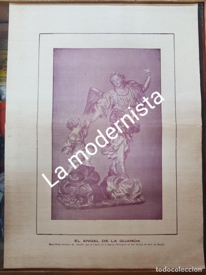 ANTIGUA LAMINA EL ANGEL DE LA GUARDA SALZILLO MURCIA DESTRUIDA GUERRA CIVIL (Coleccionismo en Papel - Varios)