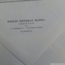 Coleccionismo Papel Varios: ALMERÍA SOBRE CORRESPONDENCIA ABOGADO EMILIO ESTEBAN HANZA. Lote 214835283