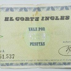 Coleccionismo Papel Varios: ANTOGUO VALE EL CORTE INGLES 100 PESETAS. Lote 214969622