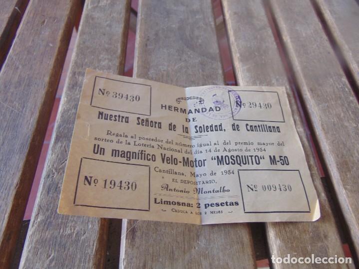 RIFA HERMANDAD NUESTRA SEÑORA DE LA SOLEDAD DE CANTILLANA VELO-MOTOR MOSQUITO M-50 1954 (Coleccionismo en Papel - Varios)