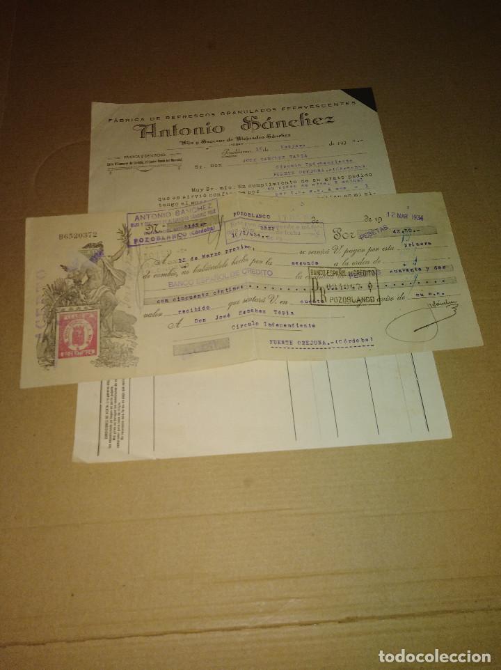 Coleccionismo Papel Varios: lote 2 factura / letra pozoblanco cordoba sanchez fabrica refrescos 1933 - 34 - Foto 2 - 218293747