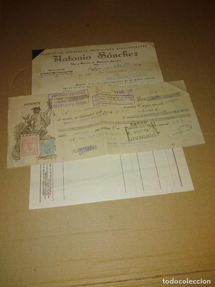 Coleccionismo Papel Varios: lote 2 factura / letra pozoblanco cordoba sanchez fabrica refrescos 1933 - 34 - Foto 3 - 218293747
