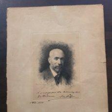 Coleccionismo Papel Varios: GRABADO DOCTOR ANTONIO ESPINA Y CAPO DEDICADO AL D. SANCHEZ DE RIVERA FIRMADO. Lote 218538751