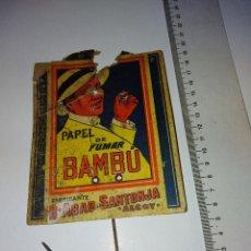 Coleccionismo Papel Varios: CARTEL CARTON PAPEL FUMAR BAMBU ALCOY ALICANTE AÑOS 20 ORIGINAL. Lote 218597893
