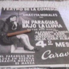 Coleccionismo Papel Varios: RECORTE AÑO 1965 .MADRID -TEATRO DE LA COMEDIA - GRACITA MORALES EN UN PARAGUAS BAJO LA LLUVIA. Lote 219015915