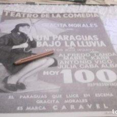 Coleccionismo Papel Varios: RECORTE AÑO 1965.MADRID-TEATRO LA COMEDIA.GRACITA MORALES. UN PARAGUAS BAJO LA LLUVIA.ALFREDO LANDA. Lote 219016902