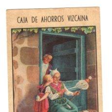 Coleccionismo Papel Varios: CARTON PUBLICITARIO CAJA DE AHORROS VIZCAINA. BILBAO. ILUSTRADO POR JOSE ARRUE. AÑO 1943. Lote 219176537