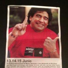 Coleccionismo Papel Varios: POSTER - CARTEL - 9º FESTIVAL SONAR - FESTIVAL INTERNACIONAL DE MUSICA (BARCELONA) MARADONA. Lote 219489933