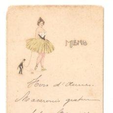 Coleccionismo Papel Varios: MENU, FRANCIA. DIBUJO MODERNISTA CON FIRMA DEL DIBUJANTE. MAYO 1912. . .- VELL I BELL.. Lote 221707187